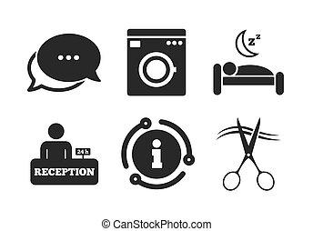 Hotel services icon. Washing machine, hairdresser. Vector