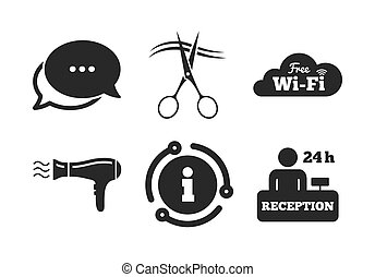 Hotel services icon. Wi-fi, Hairdryer. Vector
