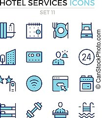 Hotel services icons. Vector line icons set. Premium quality. Simple thin line design. Modern outline symbols, pictograms