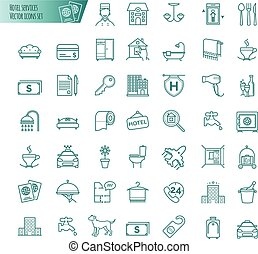 Hotel services icons vector set