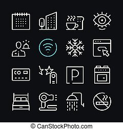 Hotel services line icons. Modern graphic elements, simple outline thin line design symbols. Vector icons set