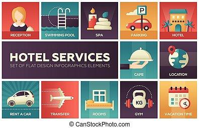 Hotel services - set of flat design infographics elements