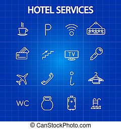 Hotel services thin line icons