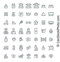 Hotel services vector outline icons set
