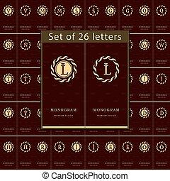 hotel, set, kunst, elegant, ontwerp, logo, template., bevallig, kaarten, heraldisch, calligraphic, koffiehuis, jewelry., boutique, handel illustratie, royalty, lijn, monogram, emblem., vector, brieven, communie