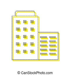Hotel sign illustration. Vector. Yellow icon with square pattern