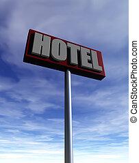 hotel sign under cloudy sky - 3d illustration