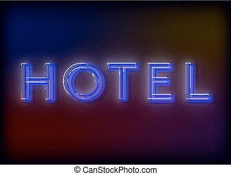 hotel., signe, hôtel, néon, business., conception, ton