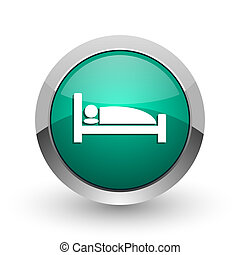 Hotel silver metallic chrome web design green round internet icon with shadow on white background.