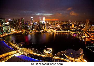 hotel, singapur, panorama, techo, bahía, tiempo, singapore.,...