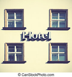 Hotel - Singboard of hotel. Retro style filtred image.