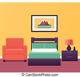 Hotel single room interior in design. Vector illustration.