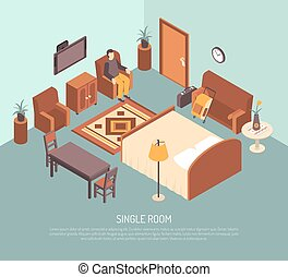 Hotel Single Room Isometric Illustration Poster
