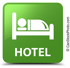 Hotel soft green square button