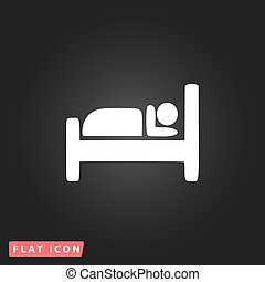 hotel, solo, icon., vector, illustration.