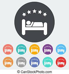 hotel, solo, plano, icon.