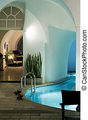Hotel spa with a pool of sea water
