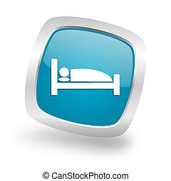 hotel square blue glossy chrome silver metallic web icon