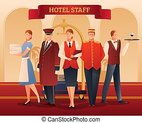 Hotel Staff Flat Composition - Hotel smiling staff flat ...