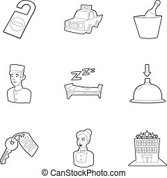Hotel staff icons set, outline style