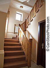 hotel hall with stairs and steps rustic style