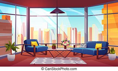 Hotel suite in skyscraper cartoon interior - Hotel suite, ...
