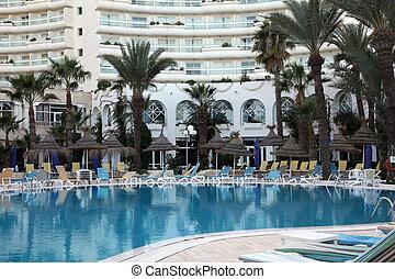 Hotel swimming pool in Sousse, Tunisia