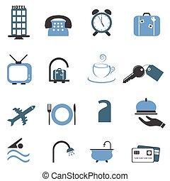 Hotel symbols icon set