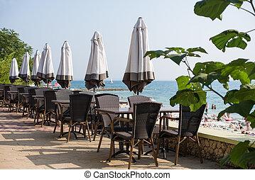 hotel, terras, luxe, overzeese mening