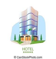 Hotel tower or hostel facade, modern skyscraper - Hotel...