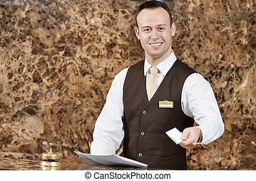 hotel, trabajador, tarjeta clave