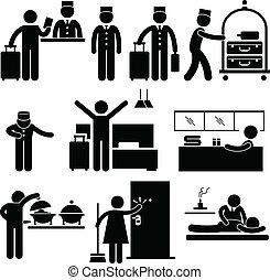 hotel, trabalhadores, e, serviços