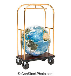 Hotel trolley with Earth Globe, 3D rendering