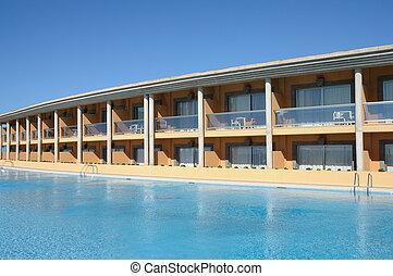 hotel, tropicais, recurso, luxo, piscina, natação