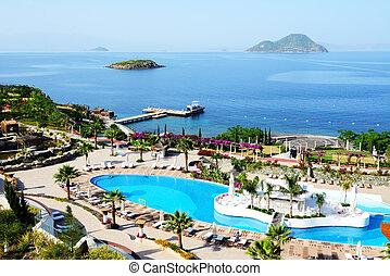 hotel, turkije, strand, bodrum, luxe