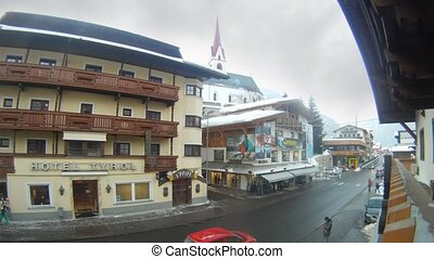 Hotel Tyrol stands near road and shop - SOELDEN - FEB 18:...