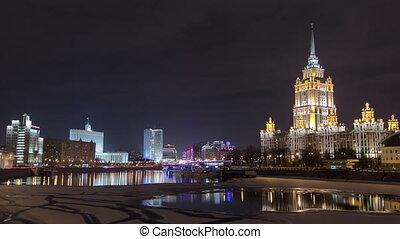 Hotel Ukraine winter night timelapse. Seen as reflected in the Moscow River.