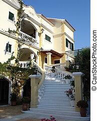 hotel, und, treppenaufgang