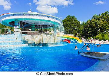 hotel, -, vacaciones, cascada, plano de fondo, piscina