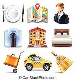 hotel, vector, conjunto, iconos