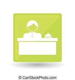 hotel, vector, receptionist, illustratie, ontwerp