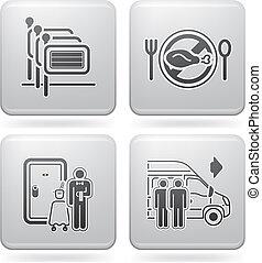 hotel, verwant, iconen