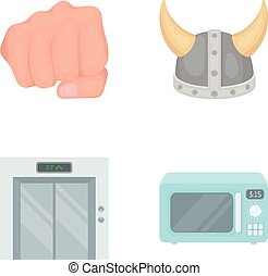 hotel, Viking and other web icon in cartoon style.electrical appliance, box icons in set collection.