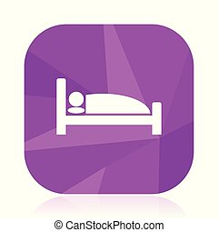 Hotel violet square vector web icon. Internet design and webdesign button in eps 10. Mobile application sign on white background.