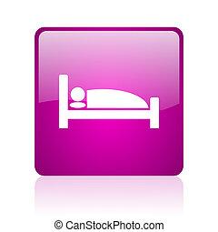 hotel violet square web glossy icon