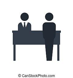 hotel, vrijstaand, receptionist, pictogram, vector, ontwerp, avatar