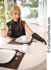 hotel, vrouw, hebben, ontbijt