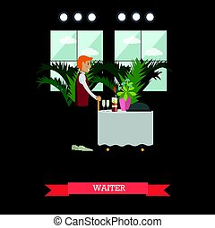 Hotel waiter concept vector illustration in flat style