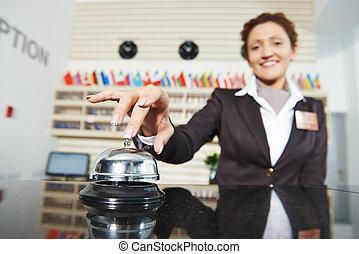 hotel, weibliche , arbeiter, auf, festempfang