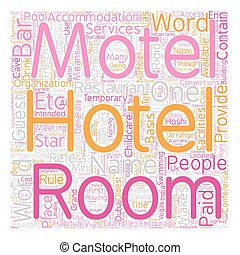 Hotel Where Does The Name Come From text background wordcloud concept